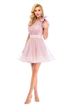 Rózsaszínű Ana Radu alkalmi egy vállas ruha masni alakú kiegészítővel