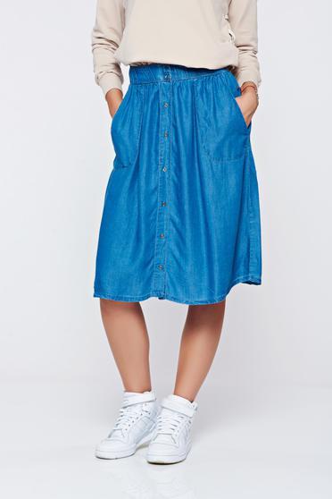 Kék Top Secret hétköznapi a-vonalú zsebes szoknya