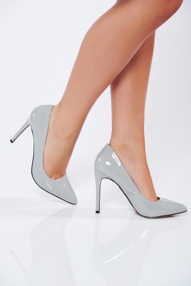 Világosszürke Top Secret stiletto magassarkú cipő elegáns műbőr