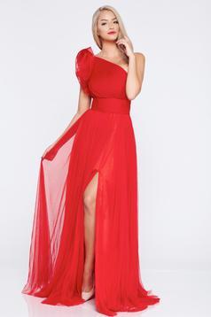 Piros Ana Radu ujjatlan a-vonalú hosszú estélyi ruha