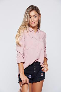 Pink Top Secret hosszú ujjú bő szabású női ing