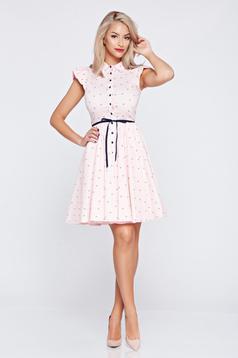 Világos rózsaszín hétköznapi a-vonalú Fofy ruha fodrozott ujjakkal