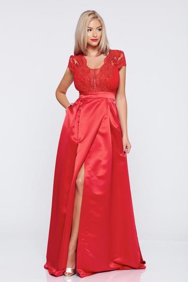 Piros hosszú alkalmi a-vonalú rövid ujjú Fofy ruha