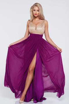 Lila Fofy hosszú ujjatlan estélyi ruha