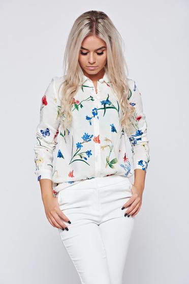 Fehér Top Secret virágmintás galléros elegáns női ing