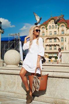 Fehér Top Secret bő szabású 3/4-es ujjú hétköznapi ruha
