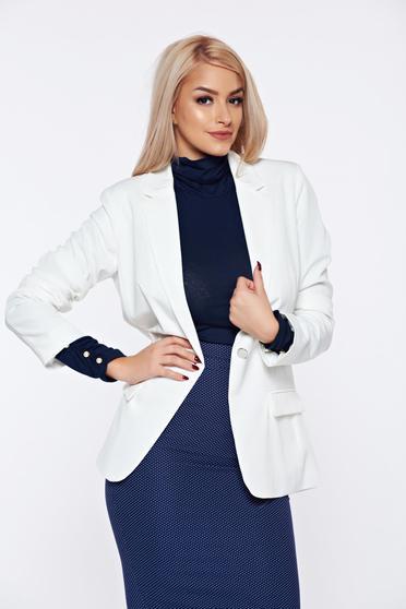Fehér Top Secret hosszú ujjú szűkített blézer