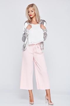 Rózsaszínű derékban rugalmas bő szabás nadrág rakott részek