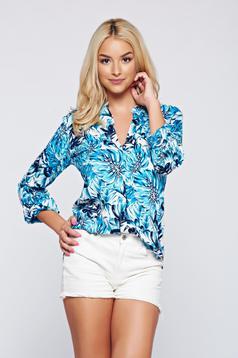 Kék Top Secret virágmintás bő szabású női ing