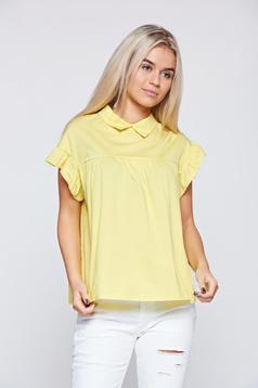 Sárga rövid ujjú bő szabás női ing hegyes gallér