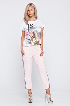 Rózsaszínű hétköznapi derékban rugalmas nadrág