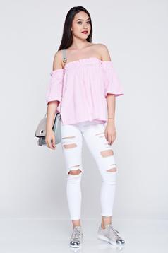 Világos rózsaszín csíkos bő szabású rövid ujjú női ing