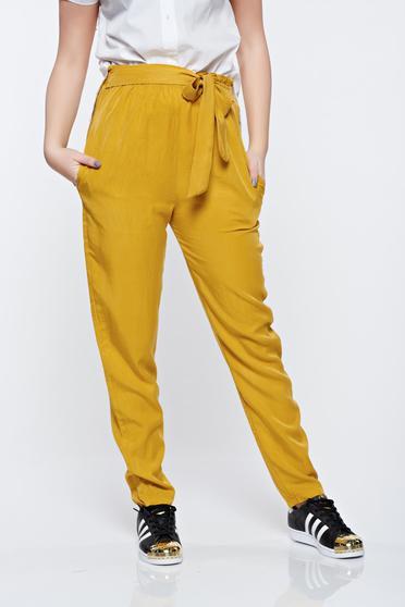 Mustársárga derékban rugalmas zsebes nadrág