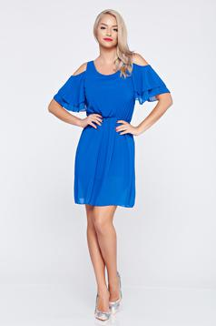 Derékban rugalmas kék ruha fátyol anyagból kivágott vállrésszel