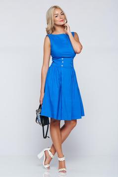 Kék PrettyGirl hétköznapi a-vonalú ujjatlan ruha