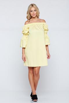 Sárga PrettyGirl bő szabás hétköznapi ruha harang ujjakkal