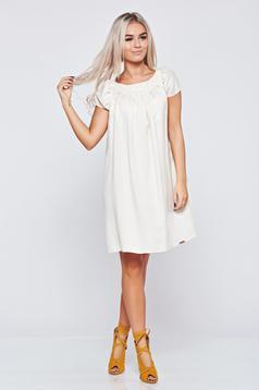 Bézs PrettyGirl bő szabású hétköznapi ruha lenge anyagból