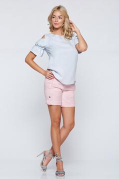 Rózsaszínű PrettyGirl zsebes hétköznapi rövidnadrág gomb kiegészítőkkel