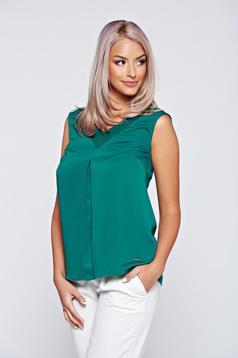 Zöld Top Secret elegáns bő szabású női blúz