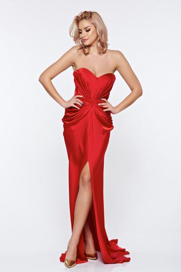 Piros Ana Radu aszimetrikus ruha szivacsos, push-up-os mellrész ráncolt anyaggal