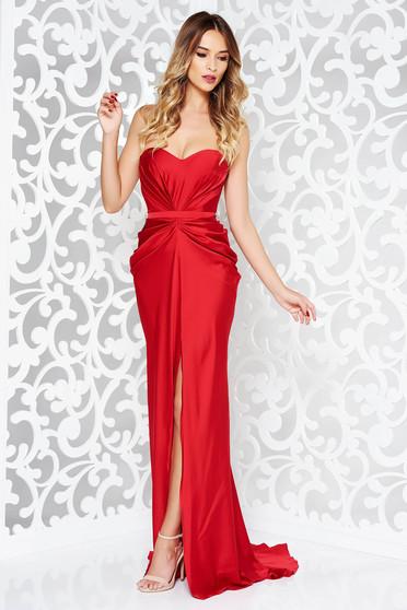 Piros Ana Radu ruha szatén anyagból váll nélküli szivacsos, push-up-os mellrész övvel ellátva