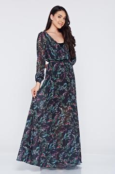 Fekete PrettyGirl ruha lenge anyagból virágmintás díszítéssel