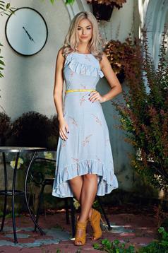 Kék asszimmetrikus StarShinerS ruha fodrokkal a mellrészen