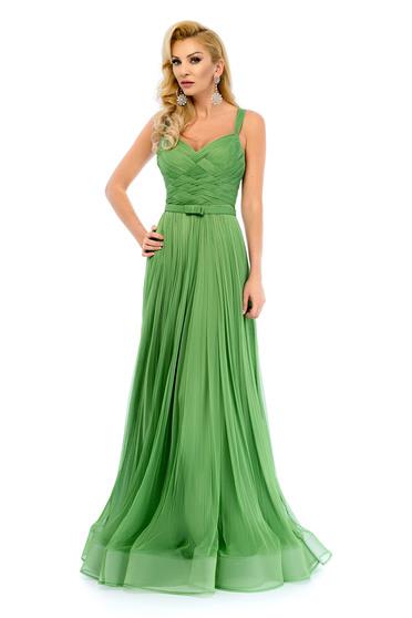 Zöld Ana Radu pántos estélyi ruha strassz köves kiegészítővel