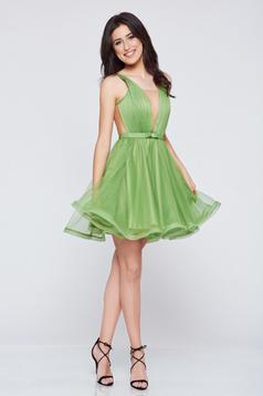Zöld Ana Radu a-vonalú alkalmi tűll ruha