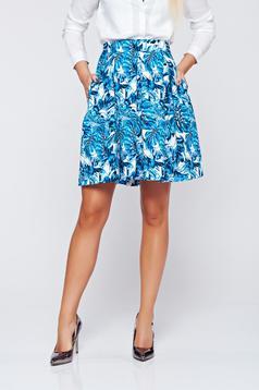 Kék Top Secret hétköznapi harang szoknya virágmintás díszítéssel