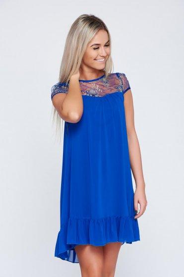 Elegáns kék Fofy ruha fátyol anyagból csipke díszítéssel