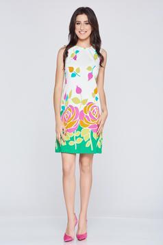 Zöld Fofy ujjatlan bő szabású virágmintás ruha