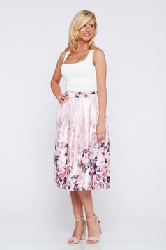 Rózsaszínű virágmintás a-vonalú elegáns szoknya