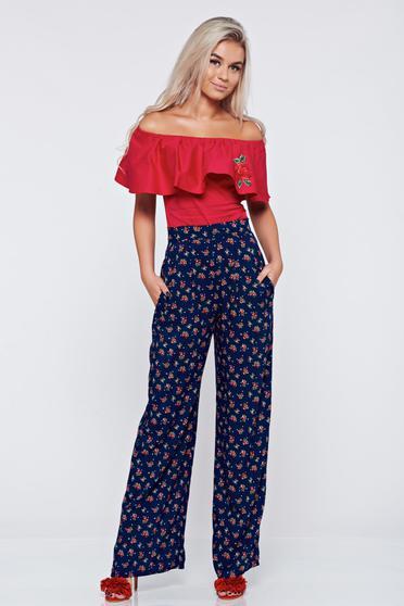 Kék magas derekú zsebes StarShinerS nadrág virágmintás díszítéssel