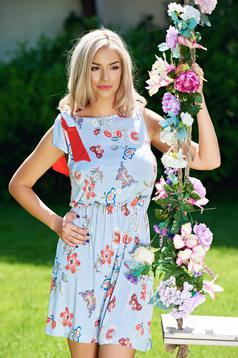 Világoskék hétköznapi StarShinerS ruha virágmintás díszítéssel