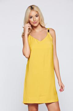 Sárga Top Secret ruha v-dekoltázzsal pántokkal