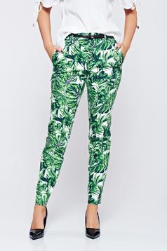 Zöld Top Secret kónikus virágmintás nadrág