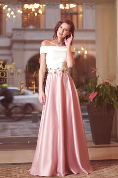 Rózsaszínű Artista hosszú ruha hímzett betétekkel