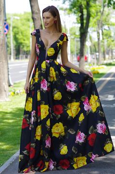 Fekete alkalmi Artista ruha szatén anyagból v-dekoltázzsal