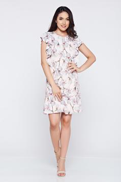 Rózsaszínű LaDonna hétköznapi ruha fodrozott ujjakkal bő szabású