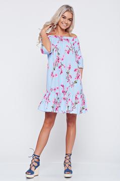 Világoskék bő szabású pamutból készült LaDonna ruha virágmintás díszítéssel