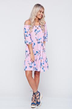 Rózsaszínű bő szabású pamutból készült LaDonna ruha virágmintás díszítéssel