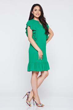 Zöld bő szabás LaDonna ruha fátyol anyag gyöngyös díszítés