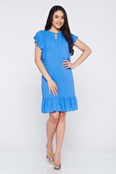 Világoskék bő szabású LaDonna ruha fátyol anyagból gyöngyös díszítéssel