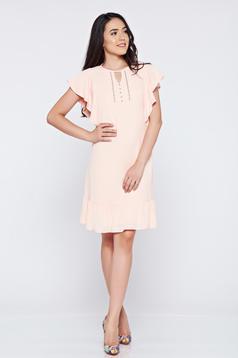 Rózsaszínű bő szabás LaDonna ruha fátyol anyag gyöngyös díszítés