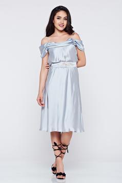 Szürke LaDonna alkalmi ruha a-vonalú vékony pántokkal
