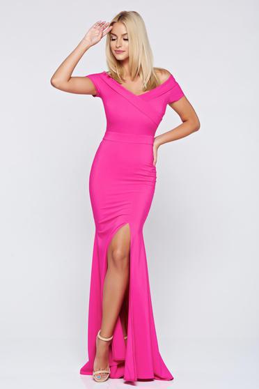 Pink alkalmi hosszú LaDonna ruha v-dekoltázzsal