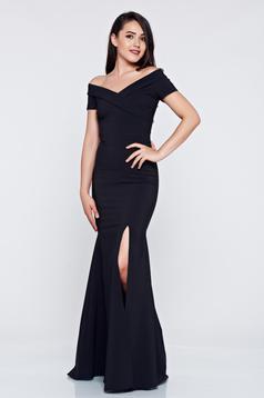 Fekete alkalmi hosszú LaDonna ruha v-dekoltázzsal