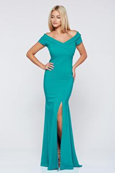 Zöld alkalmi hosszú LaDonna ruha v-dekoltázzsal