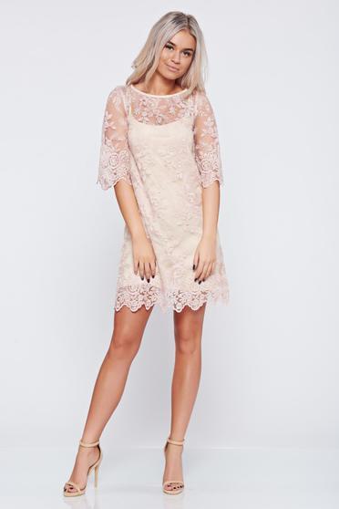 Rózsaszínű LaDonna ruha alkalmi csipkés anyagból